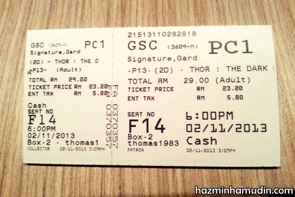 Tiket Thor The Dark World