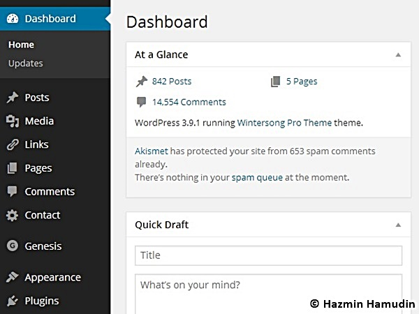 Dashboard Hazmin Hamudin WordPress
