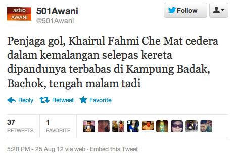 Khairul Fahmi Che Mat Kemalangan